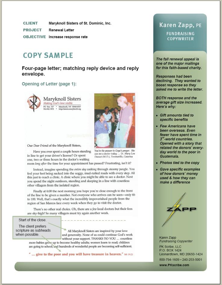 Portfolio Sample Appeal Letter Maryknoll Sisters
